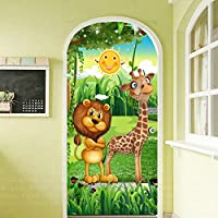 ZWYCEX ドアステッカー 壁紙PVCの自己接着防水ホームドアデカール壁画をペイントする3D漫画の子供のベッドルームのドアステッカーの森の動物 (Sticker Size : 77x200cm)