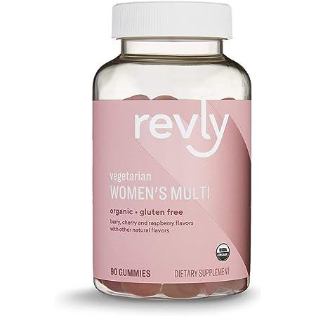 Amazon Brand – Revly Women's Multivitamins, 90 Gummies (3 Gummies per Serving), Vegetarian, Certified Organic, Gluten free