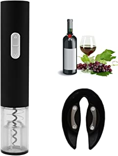 Electric Wine Opener,Battery Operated Wine Bottle Opener with Foil Cutter, Automatic Cordless Easy Corkscrew Classic Black By Haomacro