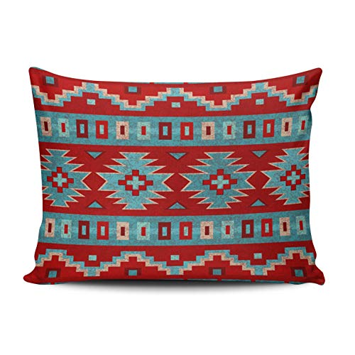 XIUBA Pillowcases Aqua Mint and Red Southwest Mesas Turquoise Customizable Cushion Decorative Rectangle 20x26 inch Standard Size Throw Pillow Cover Case Hidden Zipper Double-Sided Design Printed