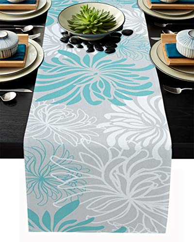 PIEPLE Aqua Chrysanthemum Flowers Table Runner-Cotton Linen-Small 13x36inches Dresser Scarves,Floral Grey Tablerunner for Kitchen Coffee/Dining/End Table Bedroom Living Room,Scarf Decor for Holiday