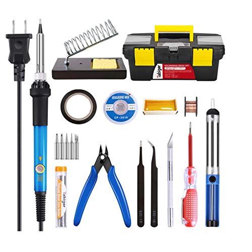 Kit de Cautín Portátil Conjunto de hierro eléctrico 60W, kit de soldadura, caja de herramientas multifunción, bomba desoldora, pluma de hierro termostatible, soporte de soldadura de hierro, cable de l