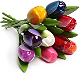 MomoMoments Ramo de Tulipanes de Madera de Alta Calidad para el Amor, 9 Tulipanes Pintados a Mano de 34 cm de Altura, Ramo de Flores, Decoración, Día de la Madre, Fabricado en Holanda