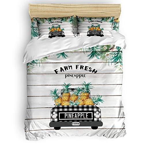 Big buy store Pineapple Truck Palm Leaf 4 Piece Duvet Cover Set Wooden Board Bed Sheets Quilt Cover for Kids/Adults Bedroom Decoration Twin Size