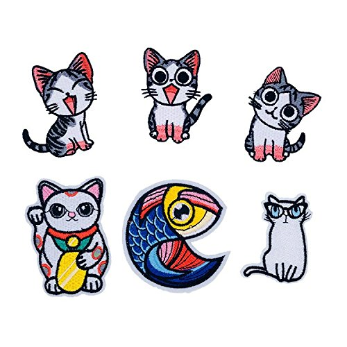 The Cat Embroidered Patch Sew On Lovely Cat Cloth Badge Applique CB