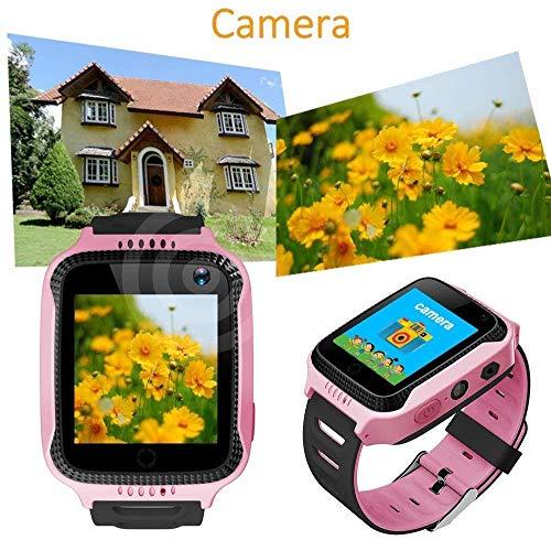Kinder Smartwatch Touchscreen Mobile Smartwatches mit LBS SOS Voice Chat Kamera Taschenlampe Wecker Digitalkamera Kids Smart Watch für Mädchen, Kompatibel mit IOS und Android (Rosa)