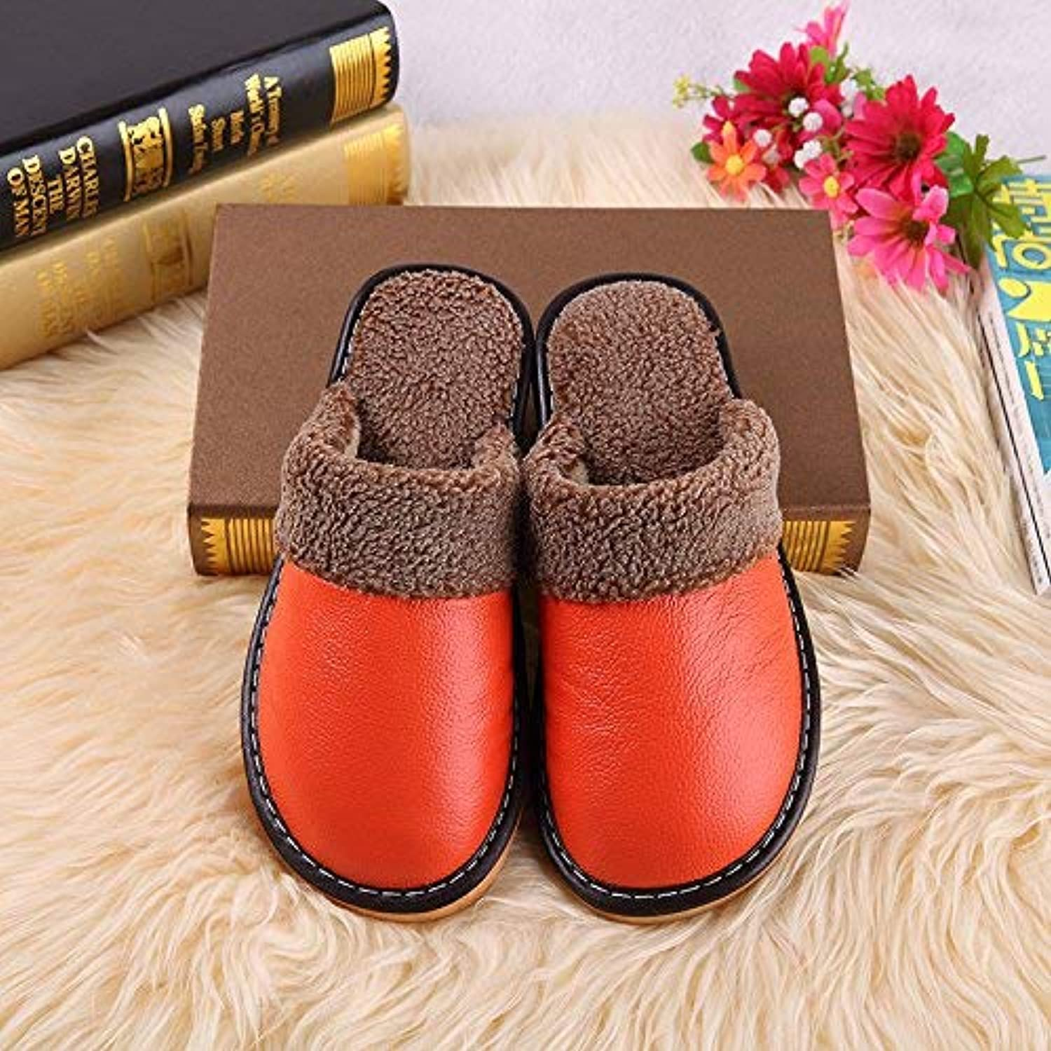 So8ooa Lady Slippers Women 's Home Slippers Indoor Non Slip Thermal Insulation Artificial Leather Slippers for Women orange Medium