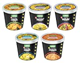 Kapka Vegan Ready to Cook Variety Cups - All Natural, 100% Vegetarian, Non GMO, Authentic Indian Food, Assorted Pack of 5 (3.5oz/100gms Each)