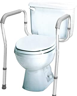Carex Toilet Safety Frame - Toilet Safety Rails and Grab Bars for Seniors, Elderly, Disable, Handicap - Easy Install with Adjustable Width/Height, Fits Most Toilets