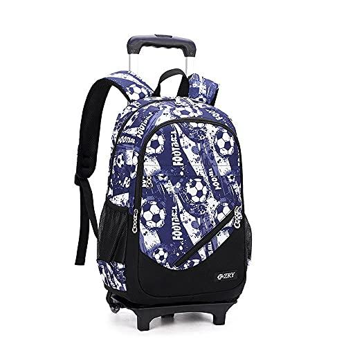 QWEIAS - Trolley da viaggio per bambini, borsa per la scuola, rimovibile, per studenti elementari, zaino impermeabile con ruote a rotelle C-2 ruote