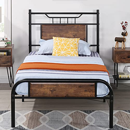 VECELO Twin Size Bed Frame with Wooden Headboard, Metal Platform Bed Frame with Footboard,No Box Spring Needed,Sturdy Steel Structure,13 Strong Steel Slat Support, Easy Assembly/Rustic Brown