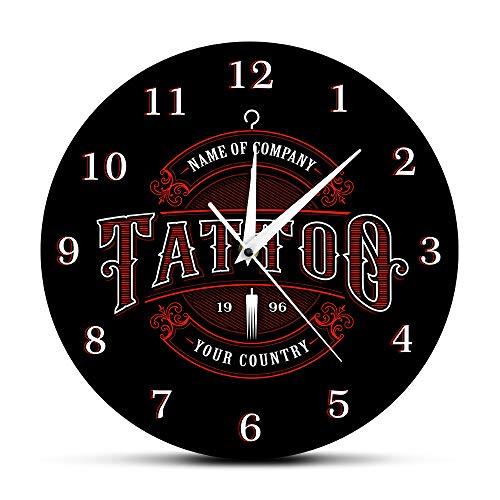 LLLYZZ Tattoo Time Reloj de Pared Personalizado Tienda de Tinta Tatuajes Pistola Artista Regalo Body Art Shop Estudio Tatuajes Logo Nombre de la compañía Reloj de Pared Moderno, Negro
