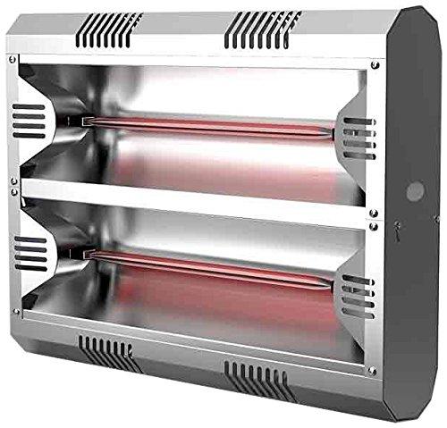Mo-El Infrarot Heizstrahler Hathor 3000 LowGlare Ultra IP55, Silber, 3000 Watt