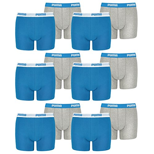 PUMA 12 er Pack Boxer Boxershorts Jungen Kinder Unterhose Unterwäsche, Farbe:417 - Blue/Grey, Bekleidung:164
