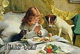 Blechschild 30x20cm Reklame Pears Soap Mädchen Katze Hund Seife Schild Tin Sign