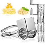 Stainless Steel Rotary Grater Handheld Rotary Grater Handheld Rotating Cheese Grater with 4 Stainless Drum for Grating Hard Cheese Chocolate Nuts Kitchen Tool