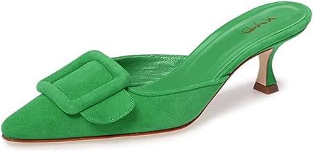 XYD Women Mule Pointy Toe Sandals Suede Slip on Low Kitten Heel Buckle Slide Shoes