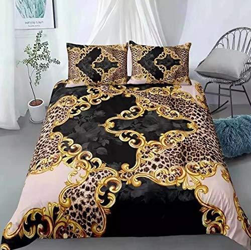 GYF Inicio Textiles 3D Leopard Impresión Casa Casa Ropa de Cama Lujo Nuevo edredón Cubierta Conjunto Doble tamaño Individual en Alza Color : Style8, Size : UK Double(200x200cm)