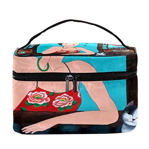 Rose Nature Bloom Sac de Maquillage Cosmétique Rangement Organisateur - Trousse de Toilette de Voyage avec Poignée, Pinceaux de Maquillage Porte-Rouge à Lèvres
