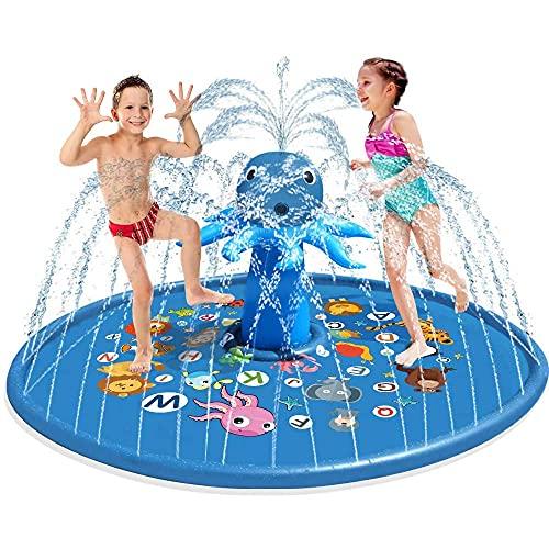 Splash Pad, Outdoor Opblaasbare Octopus Water Speelgoed Anti-Slip Grote Sprinkler Play Mat Voor Kinderen En Huisdier Hond Voor Peuters Jongens Meisjes Volwassenen in Zomer Outdoor Water Play,60in