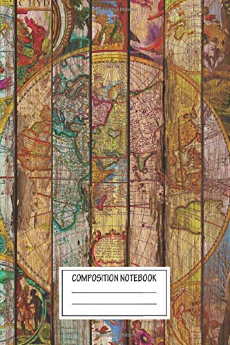 Composition Notebook: Vintage Posters Around The World In Thirteen Maps Wood Style Wide Ruled Note Book, Diary, Planner, Journal for Writing