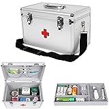BoxnStrapl Caja de herramientas genérica, caja grande de metal de aluminio, caja de primeros auxilios, herramienta de almacenamiento de medicina, correa de boxeo, grandes aberturas de aluminio