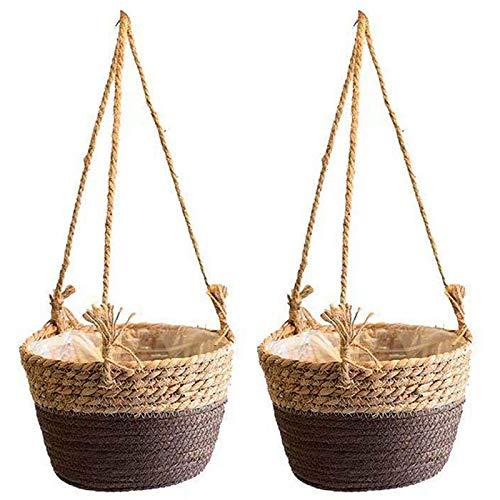 Gernian 2 Pezzi Cesto Appeso Vaso di Fiori Intrecciato Portavaso per Piante Grasse Interne Ed Esterne e Piccole Piante