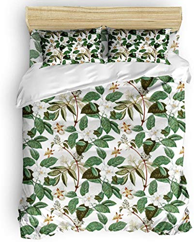 Zozun Duvet Cover Set, 3 Piece Watercolor Beautiful Flower Leaf Bedding Set - 1 Quilt Cover 2 Pillow Cases for Childrens/Kids/Teens/Adults
