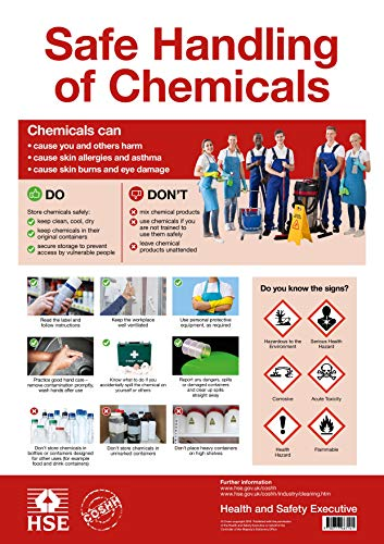 Coshh Poster, sicherer Umgang mit Chemikalien, A2-Größe, offizielles HSE-Design, 170 g/m² Seidenpapier