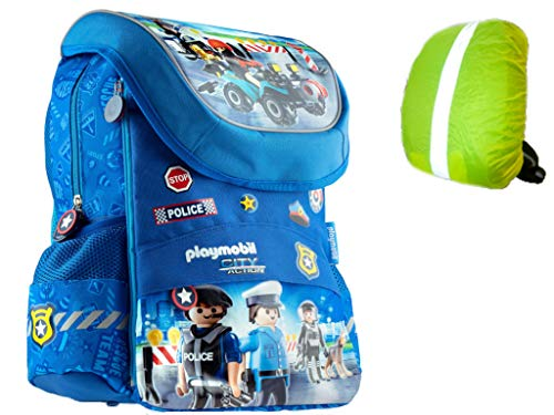 Polizei Playmobil Schulrucksack Schulranzen Regenschutz Schule Rucksack Ranzen neu
