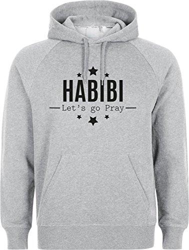 Habibi Lets GO Pray - Islam Hoodie SLAMISCHE Streetwear Kapuzenpulli Kapuzenpullover Kleidung FÜR Muslime BEDRUCK Outdoor Islam Fashion (M, Grau)
