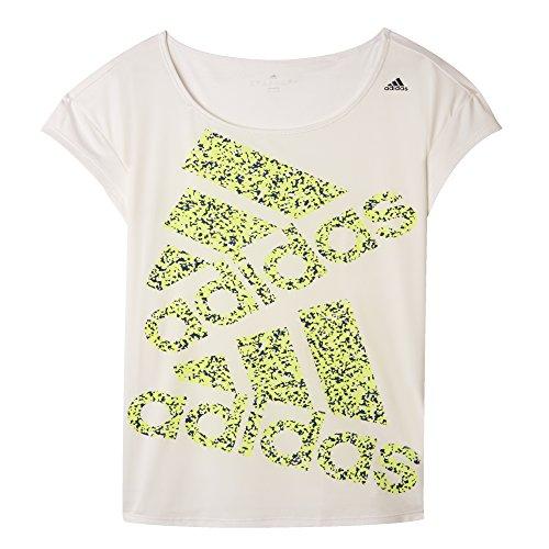 adidas Graphic tee - Camiseta para Mujer, Color Rosa/Negro/Amarillo, Talla S