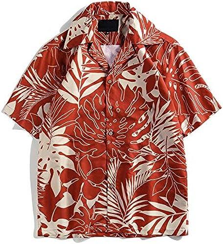 DXHNIIS Plein imprimé Tropical Hawaii Chemises Hommes col Rabattu Chemises Vintage Chemises d'été Plage Vacances Chemises pour Hommes