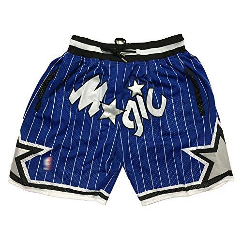 Men's Basketball Shorts, Suitable for Magic Team Official Game Shorts, mesh Breathable Shorts, Summer Street Casual Fashion Shorts-Blue-M