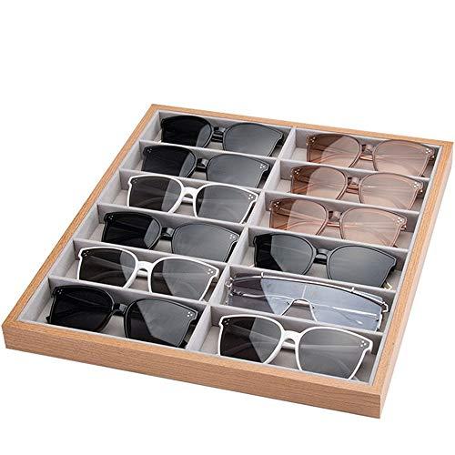 Caja de Gafas Estuche de Gafas de Sol Organizador, Gafas de Sol de Madera Organizador Caja de 12 Ranuras de Las Lentes de Lectura Almacenamiento exhibición de los vidrios del escaparate Gafas Soporte