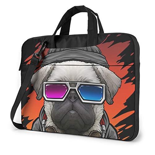 Laptop Shoulder Bag - Dj Pug Dog Printed Shockproof Waterproof Laptop Shoulder Backpack Bag Briefcase 15.6 Inch