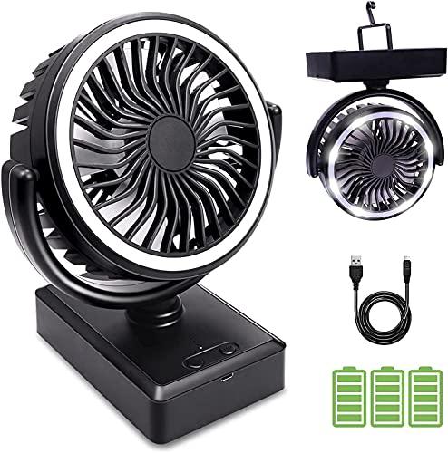 Snelen Ventilador USB, Ventilador Portátil Silencioso 5000mA,Ventilador a Bateria Recargable, Ventilador de Mesa , Camping Ventilator con LED y Gancho,3 Velocidades, para el Hogar, Exterior, Camping