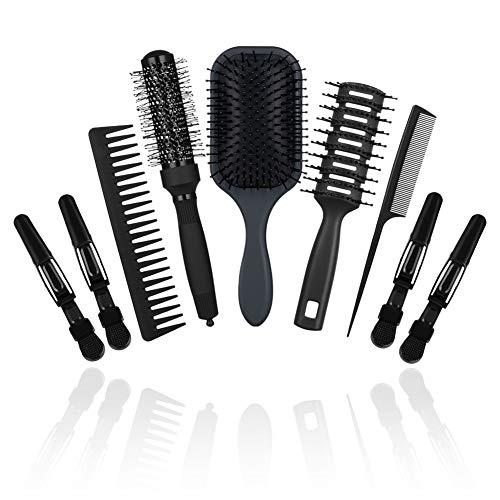 CISHANJIA - Set di 9 pettini professionali per la cura dei capelli, in velluto, ideali su capelli bagnati o asciutti, per donne, uomini e bambini, colore: nero