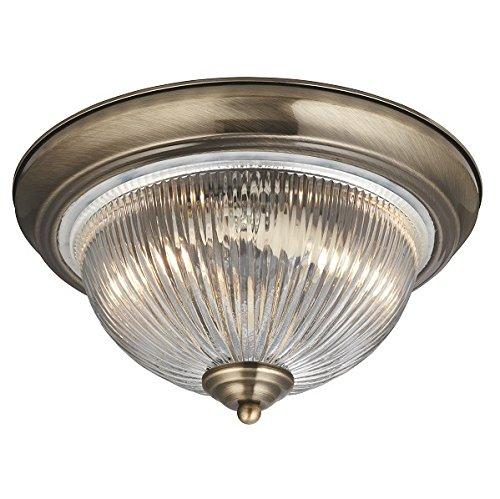 Plafoniera in ottone antico stile liberty 2xE14 fino da 40 WATT 230V IN METALLO & vetro stanza da Bagno Cucina Sala da pranzo LAMPADE LUCE INTERNO