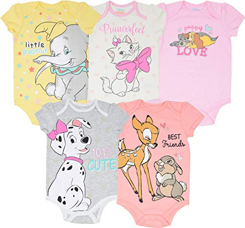 Disney Baby Girls 5 Pack Bodysuits 101 Dalmations Dumbo Bambi Aristocats 12 Months