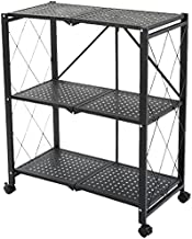 Installation-Free, Multi-Layer Foldable Shelf, Kitchen, Microwave/Oven/Pot, Floor-Standing, Movable Multi-layer Storage (T...