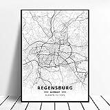 Leinwanddruck,Regensburg Deutschland Schwarz-Weiß-Stadt