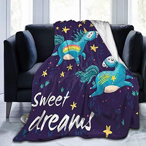 KOSALAER Bedding Manta,Dulces sueños Dos Unicornios Volando en el Cielo Nocturno fantasía Infantil Cuento de Hadas Dibujos Animados Decorativos,Mantas cálidas de Sala de Estar/Dormitorio Ultra Suaves