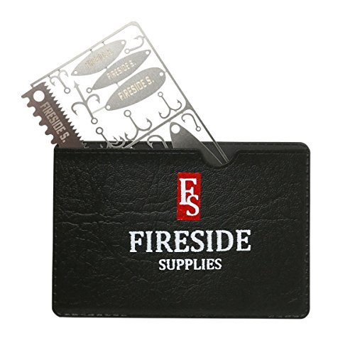 Fireside Supplies Angeln Survival Karte mit Bonus Schwarz Leder Fall–21-in-1Edelstahl Survival Multifunktionswerkzeugen–Angeln Werkzeug für Wandern und Camping