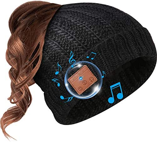 Beanie Hat Bluetooth Headphone Ponytail Warm Beanies for Women Built in Mic Black product image