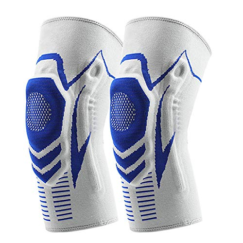 qwertyu - Rodilleras protectoras de silicona gruesa anticolisión, rodilleras protectoras antideslizantes para lucha, danza, rodilleras de apoyo para deportes al aire libre (1 par), color azul, tamaño L
