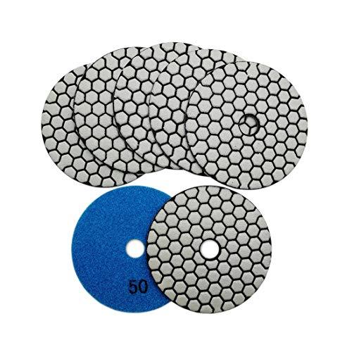 SHDIATOOL Diamante Lucidatura Pad 7 Pezzi Grana 50 per Lucidare a Secco Marmo Granito Pietra Ceramica Dia 100mm 4 Pollici