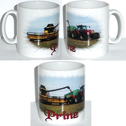 Mok fotobeker beker tractor massey furzon + meisjermes nieuw Holland - met naam