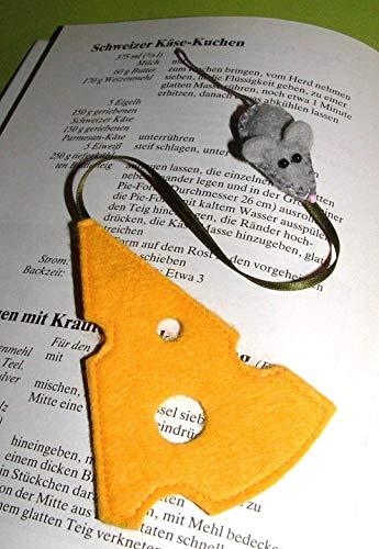 Lesezeichen Maus & Käse aus Filz - 2