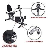 Bicicleta de Ejercicios Bicicleta Reclinada Magnética Sunny Health & Fitness, Capacidad de 135 kgs, Asiento de Ajuste Fácil, Monitor, Monitor de Pulso Cardiaco - SF-RB4616
